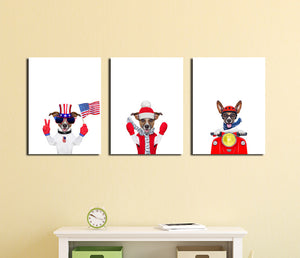 3 Piece Cute Dog Pet American Flag Canvas Art Prints-016 (2)