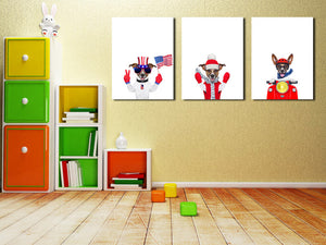 3 Piece Cute Dog Pet American Flag Canvas Art Prints-016 (3)