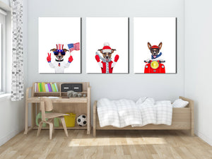 3 Piece Cute Dog Pet American Flag Canvas Art Prints-016 (4)