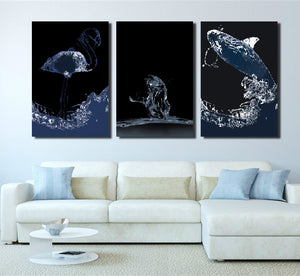 3 Piece Flamingos Cat Whale Canvas Poster Print Painting Wall Art-024 (3)