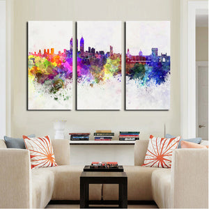 3 Piece Modern Abstract City Print Canvas Painting- 023(1)