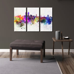 3 Piece Modern Abstract City Print Canvas Painting- 023(2)