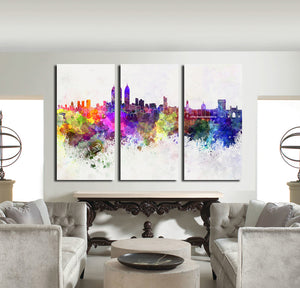3 Piece Modern Abstract City Print Canvas Painting- 023(4)