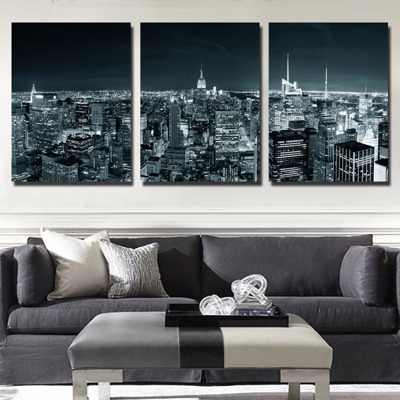 Large Framed Wall Art New York City Landscape Sunset: 3 Piece New York City Building Wall Art Picture Canvas