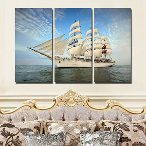3 Piece Oil Painting Canvas Print Seascape Sailing Picture Wall Art-104 (1)