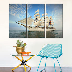 3 Piece Oil Painting Canvas Print Seascape Sailing Picture Wall Art-104 (2)