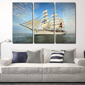 3 Piece Oil Painting Canvas Print Seascape Sailing Picture Wall Art-104 (3)
