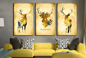 3 Piece Vintage Yellow Deer Canvas Wall Art Prints-011 (1)
