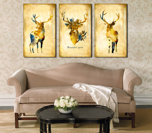 3 Piece Vintage Yellow Deer Canvas Wall Art Prints-011 (2)