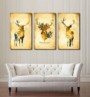 3 Piece Vintage Yellow Deer Canvas Wall Art Prints-011 (3)