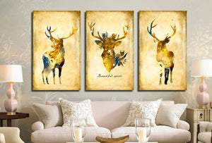 3 Piece Vintage Yellow Deer Canvas Wall Art Prints-011 (4)