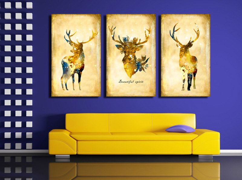 3 Piece Vintage Yellow Deer Canvas Wall Art Prints Oil Painting for ...