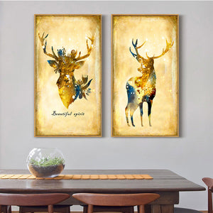 3 Piece Vintage Yellow Deer Canvas Wall Art Prints-011 (6)