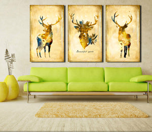 3 Piece Vintage Yellow Deer Canvas Wall Art Prints-011 (7)