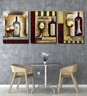 3 Piece Wine Cup Bottle Canvas Print Wall Picture-021 (1)