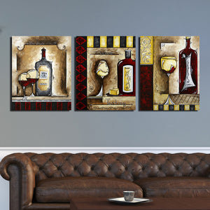 3 Piece Wine Cup Bottle Canvas Print Wall Picture-021 (2)