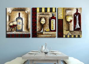 3 Piece Wine Cup Bottle Canvas Print Wall Picture-021 (3)