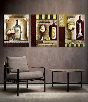 3 Piece Wine Cup Bottle Canvas Print Wall Picture-021 (4)