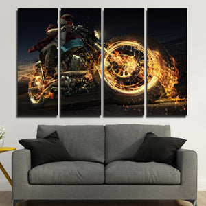 4 Panel Fire Motorcycle Poster Painting Canvas Art Prints-096 (2)