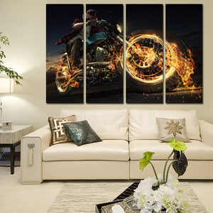 4 Panel Fire Motorcycle Poster Painting Canvas Art Prints-096 (3)