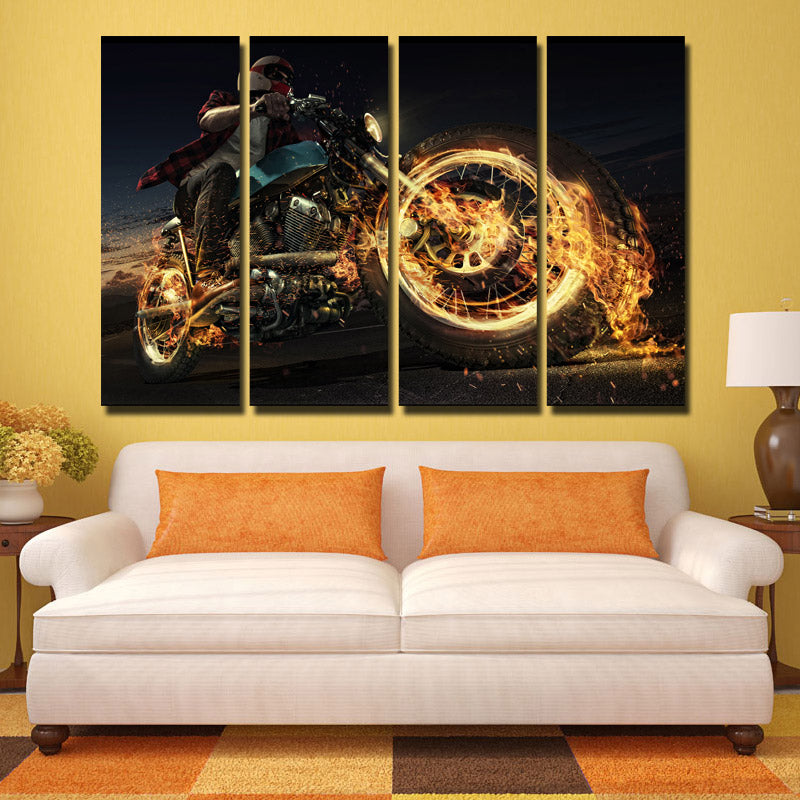 4 panel burning motorcycle poster painting canvas art prints picture
