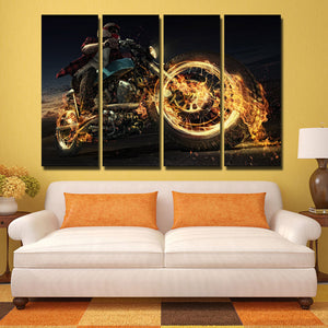 4 Panel Fire Motorcycle Poster Painting Canvas Art Prints-096 (4)