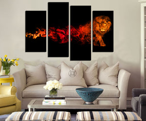4 Panel Flaming Lion Picture Prints Canvas Wall Art-059 (1)