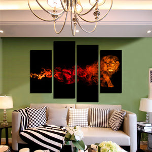 4 Panel Flaming Lion Picture Prints Canvas Wall Art-059 (2)