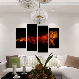 4 Panel Flaming Lion Picture Prints Canvas Wall Art-059 (3)