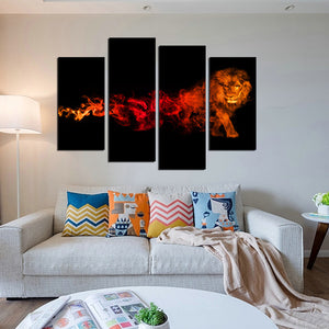 4 Panel Flaming Lion Picture Prints Canvas Wall Art-059 (4)