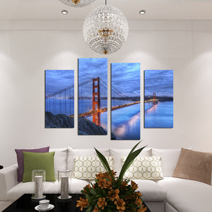 4 Panel Golden Gate Bridge Sunset Landscape Canvas Art Prints Picture-072 (1)