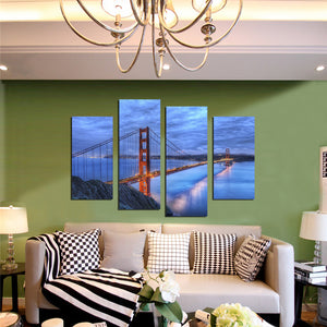 4 Panel Golden Gate Bridge Sunset Landscape Canvas Art Prints Picture-072 (3)