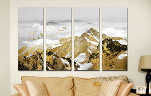 4 Panel Golden Mountain Snow Landscape Art Canvas Print Wall Decor-026 (1)