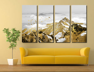 4 Panel Golden Mountain Snow Landscape Art Canvas Print Wall Decor-026 (2)