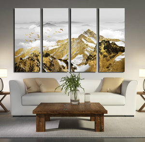 4 Panel Golden Mountain Snow Landscape Art Canvas Print Wall Decor-026 (3)