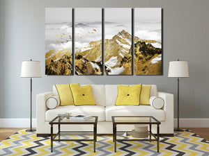 4 Panel Golden Mountain Snow Landscape Art Canvas Print Wall Decor-026 (4)