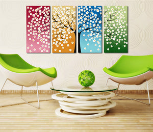 4 Panel HD Printed Tree Flower Canvas Print Wall Decor Art-028 (1)