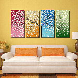 4 Panel HD Printed Tree Flower Canvas Print Wall Decor Art-028 (2)