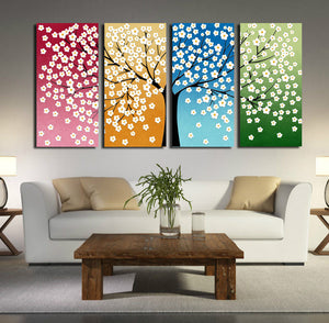 4 Panel HD Printed Tree Flower Canvas Print Wall Decor Art-028 (3)