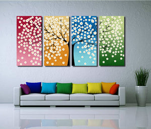 4 Panel HD Printed Tree Flower Canvas Print Wall Decor Art-028 (4)