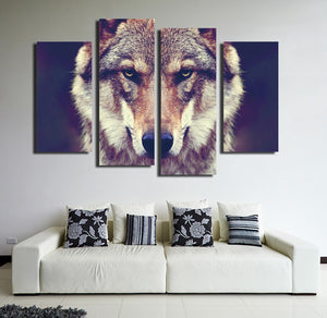 4 Panel HD Printed Wolf Canvas Art Painting-071 (1)