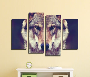 4 Panel HD Printed Wolf Canvas Art Painting-071 (2)