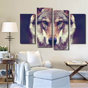 4 Panel HD Printed Wolf Canvas Art Painting-071 (3)