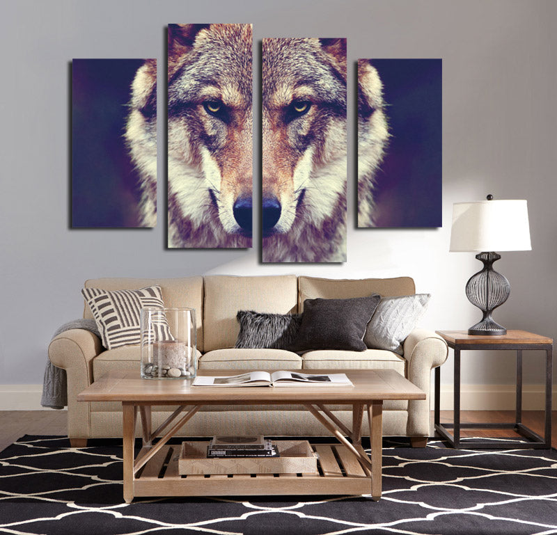 4 panel hd printed wolf canvas art painting wall poster decor