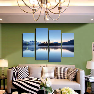 4 Panel Morning Lake Scenery Canvas Painting Picture Prints-058 (1)