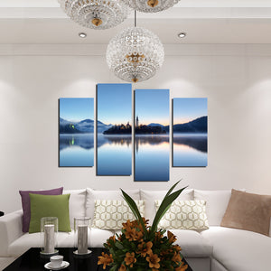 4 Panel Morning Lake Scenery Canvas Painting Picture Prints-058 (2)