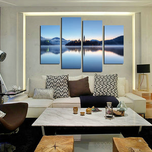 4 Panel Morning Lake Scenery Canvas Painting Picture Prints-058 (3)