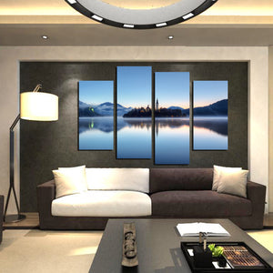 4 Panel Morning Lake Scenery Canvas Painting Picture Prints-058 (4)