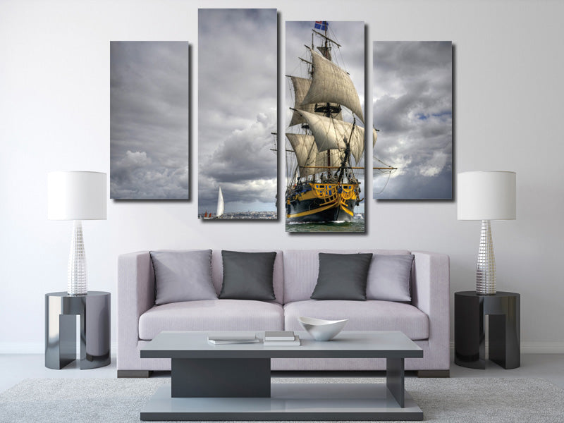 4 panel sailing ship painting wall art decor printed canvas picture