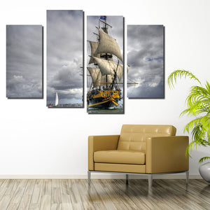 4 Panel Sailing Ship Painting Wall Art Decor Printed Canvas Picture-066 (2)